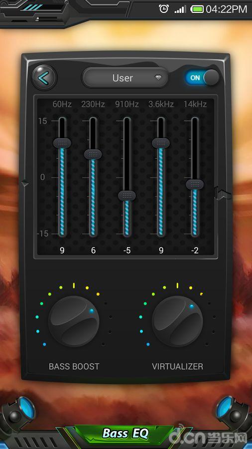产品特点:  *五波段均衡器  *低音增强效果  *虚拟3d环绕音效  *10